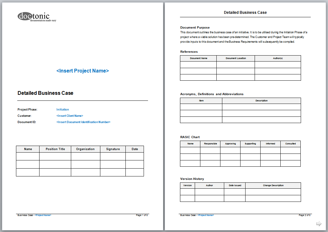 Detailed Business Case Template Skin