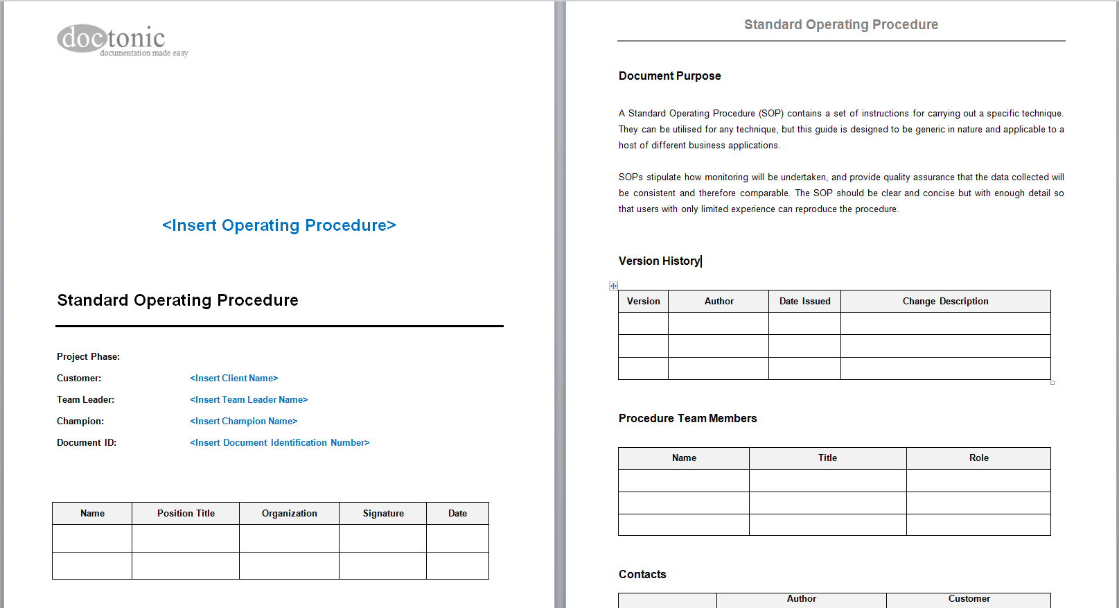 Home → Templates → Standard Operating Procedure (SOP) Template