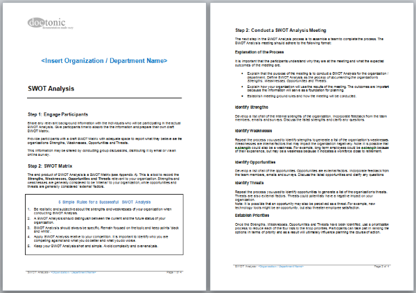 Swot analysis template easy document creation swot analysis template pronofoot35fo Gallery