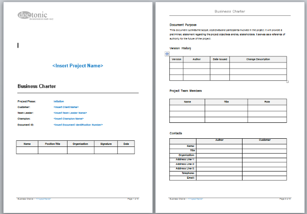 Business Charter Template – Project Documentation