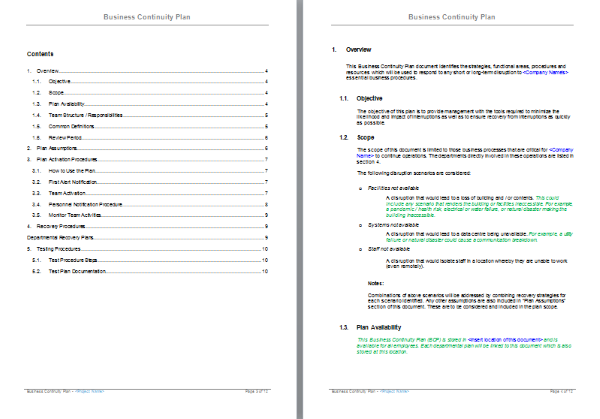 business resumption plan template - business continuity plan template project documentation