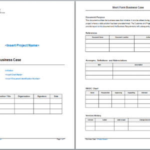 Short form business case template accmission