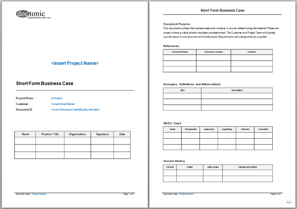 Short form business case template project documentation short form business case template wajeb