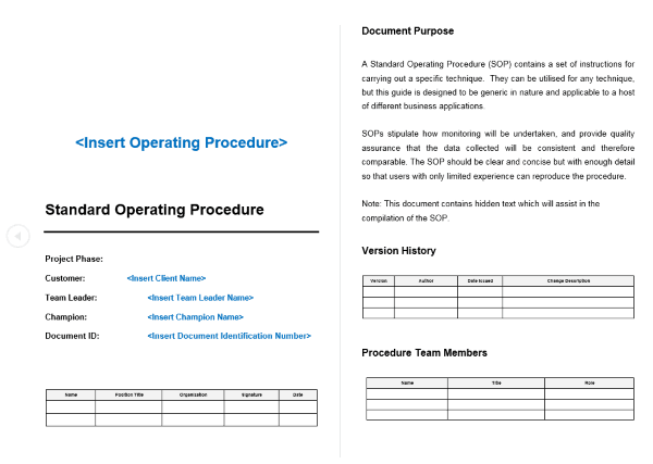 Standard operating procedure sop template project for Sales sop template