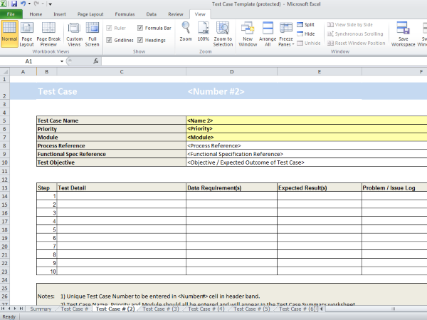 system test case template - test case spreadsheet template project documentation