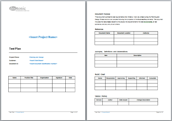 testplan template - test plan template project documentation
